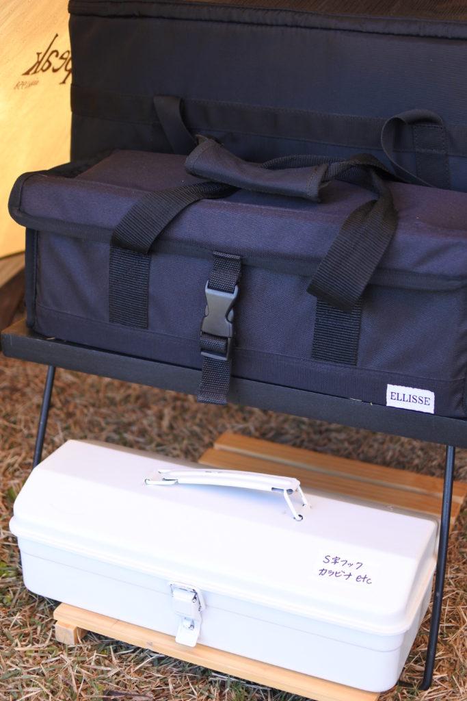 キャンプ用の無印工具箱とペグケース