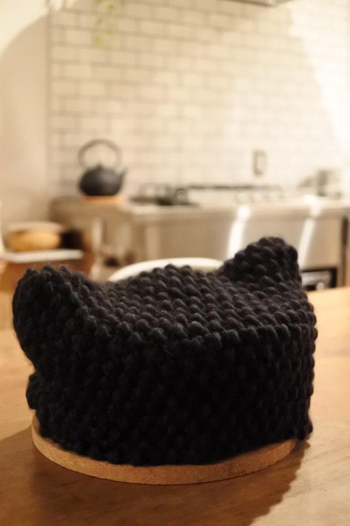 鍋帽子をニットで編んでみました