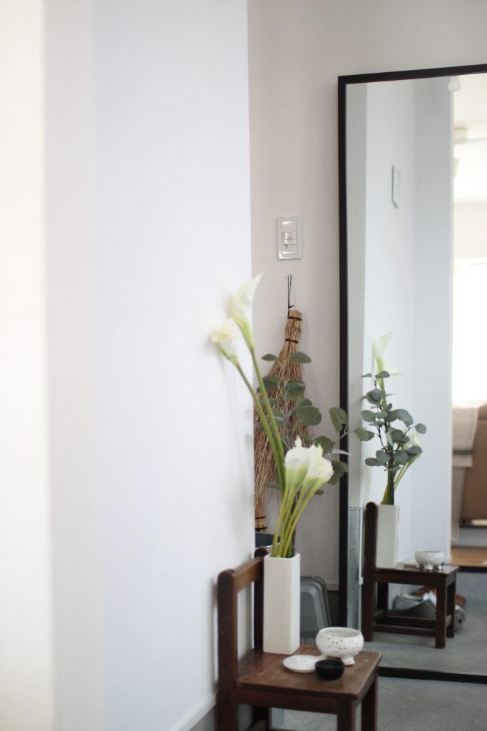 IKEAのHEMNESヘムネスミラーを玄関に置いています