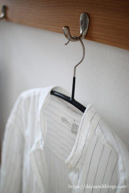 無印のリネンシャツワンピースの襟をとってみた