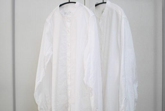 無印超長綿洗いざらしブロードスタンドカラーシャツと洗いざらしオックスチュニック